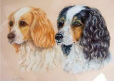 Painting Spaniel Dogs Artist Signed King Charles Spaniel Vintage Pastel (4226)