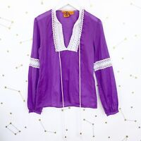 Tory Burch Blouse Size 6 Purple Crochet Trim Peasant Long Sleeves Tassels