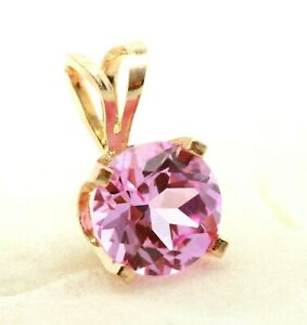 0.60ct Natural VS Pink Sapphire 14K Solid Yellow Gold Pendant Necklace Solitaire