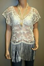 Womens Ivory Crochet Top, Bohemian Top, See-Through Blouse, Size: L