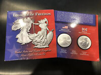 LEGACIES OF FREEDOM US & UK 1 OZ $1 SILVER EAGLE £2 BRITANNIA BULLION SET