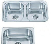 Single Or Double Stainless Steel Inset Drop In Counter Topmount Kitchen Sinks