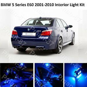 BLUE DELUXE BMW 5 SERIES E60 2001-2010 INTERIOR UPGRADE LED LIGHT BULBS