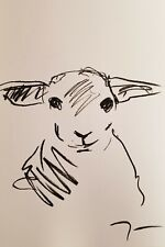 JOSE TRUJILLO OIL PASTELS Painting ABSTRACT Minimalism 13X19 FARM ANIMAL LAMB