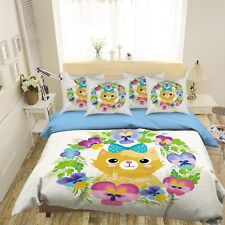 3D Flower Cat 4 Bed Pillowcases Quilt Duvet Cover Set Single Queen King Au Carly