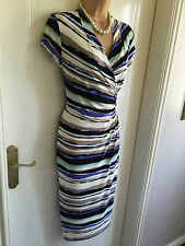 Size S 8/10 Country Casuals Stripe Detail Pencil Style Calf Length Dress