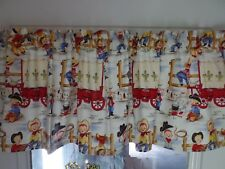 Retro Denim Cowpokes & Girls Wagon, Sing Handmade Window Curtain VALANCE 42 x 14