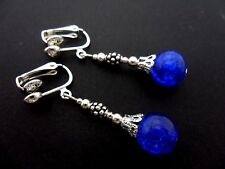 A PAIR OF TIBETAN SILVER BLUE CRACKLE GLASS BEAD CLIP ON  EARRINGS. NEW.