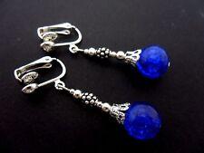 Un Paio Di Argento Tibetano Blu Crackle Glass Bead Clip SU ORECCHINI. NUOVA.