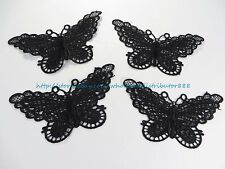 Us Seller - 4 pieces 7.5*13.5cm Vintage Butterfly sew on patch applique black