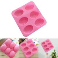 Silicone 6-Cavity Oval Soap Making Mold Tray Chocolate Cake Baking Mold DIY LA2