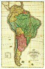South America Panoramic Map, Brazil, Argentina, Chile, Peru etc. Modern Postcard