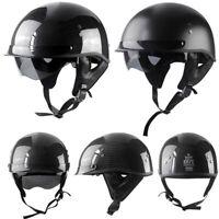 DOT Motorcycle Half Helmet w/Sun Visor Real Carbon Fiber Scooter Chopper Helmet