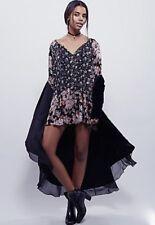 NEW Free People black brown white Flowy Drapy Floral Print Peasant Swing Dress M