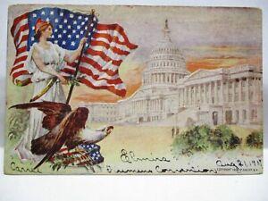 1906 SANDER CO EMBOSSED PATRIOTIC POSTCARD LADY LIBERTY W/ US FLAG EAGLE CAPITOL