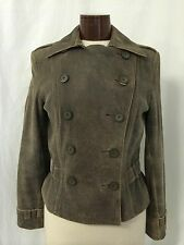 Express Brown Distressed Leather Military Pea Coat Style Jacket Size 8