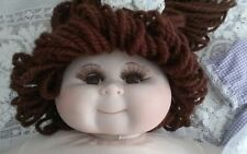 "VTG Porcelain CABBAGE PATCH DOLL 17"" Pinafore Dress Panty Shoes Socks Wig Sweet!"
