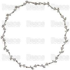 FLOWER vine AUSTRIAN CRYSTAL NECKLACE choker BRIDAL silver rhodium GIFT BOX UK
