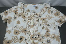 Sears Vintage Usa Blouse Top Shirt Women's Size Large Polyester Floral Beige