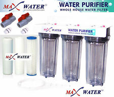 3 Stage High Flow Whole House Water Filter Sediment Carbon Filter 2 ball valves