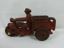Cast Iron Motorcycle Crash Car 3 Wheel Red