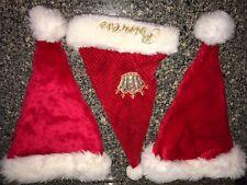 3 SANTA CLAUS HATS red white FURRY 1 PRINCESS in gold 2 BASEBALL CAP STYLE BACKS