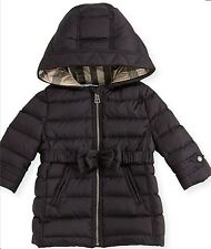 NWT Burberry Girls Hooded Down Puffer Coat Baby Black Size 9 Month $375 Gift