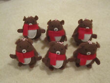 6 Bears plush ornaments tree Christmas new with tags with red scarfs bear