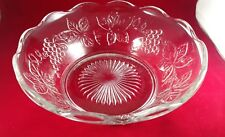 Anchor Hocking Glass Clear Grape Punch Bowl Base Stand Bowl