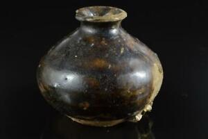 #7957: Japanese Old Seto-ware Brown glaze VASE Pot Ikebana Tea Ceremony