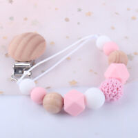 AU_ Exquisite Beads Silicone Wood Baby Infant Teether Toy Pacifier Clip Chain Ho