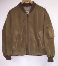 Armani Exchange Vtg SoHo Early 90s Brown Suede Leather MA-1 Bomber Jacket Small
