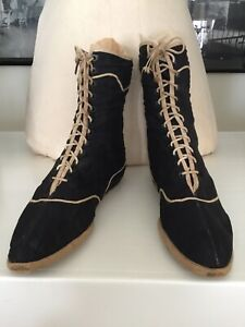 Gray white lace up boots 37 6.5 collectors condition Rare Victorian 1890s John S