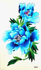 King HorseBig Light Blue Peonies Non-Glitter Temporary Tattoos HM451 New Arrival