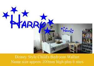 Disney Style Personalised Wall Art, Child's Name & Stars, Vinyl Decal Sticker