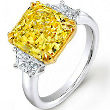 GIA 3.20 Carat Fancy Yellow Cushion Cut Diamond Engagement Ring Platinum