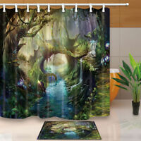 River and Magic Forest 71 inch Bathroom Waterproof Fabric Shower Curtain & Hooks