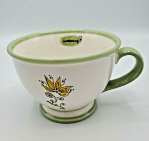 Starbucks 2006 Flower Coffee Tea Mug Nurturing 10oz Footed Pedestal Mint Green