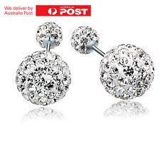 Fashion Women Jewelry Crystal Double Sided Pearl Earrings Stud Earring Ball Bead