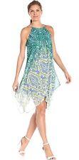NWT MSK Green, Blue Abstract Chiffon Hanky Hem Halter Neck Shift Dress Size 12