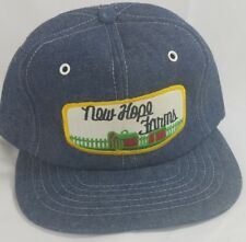 Vtg New Hope Farms Denim Insulated Hat Cap Snapback Foam Front Mesh Patch Ag