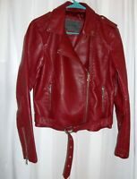 CI SONO by Cavalini Red F. Leather Jacket Side Zip Up Pockets Belted Size M
