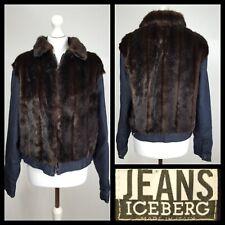 Iceberg Jeans Dark Denim Faux Fur Padded Jacket Size UK 18 EU 46