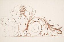 Gravure XVIII° Manière de crayon en sanguine Motif décoratif de feuillage pl 61