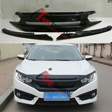 Carbon Fiber Badgeless Type R Front Bumper Grille For Honda Civic Si 10th 16-17