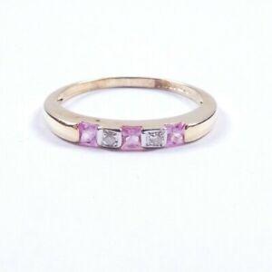 Pink Tourmaline and Diamond eternity ring size O1/2