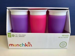 NEW Munchkin Miracle 360 BPA Free Sippy Cup 10 Ounce, (Set Of 3) Purple And Pink