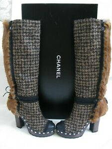 New CHANEL Runway Plaid Tweed Fur CC Platform Clog Heel Knee-High Tall Boots 40