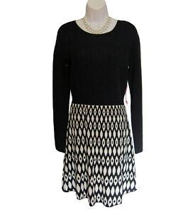 NEW Sweater Knit Dress Size S Small Cynthia Rowley Black Geometric Fine Gauge