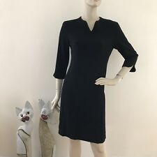 Adolfo Dominguez Black Wool Blend Wrap Style Versatile Dress 38/8 Brown Trim